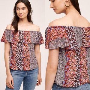 Anthro Maeve Vallita Off The Shoulder Floral Top